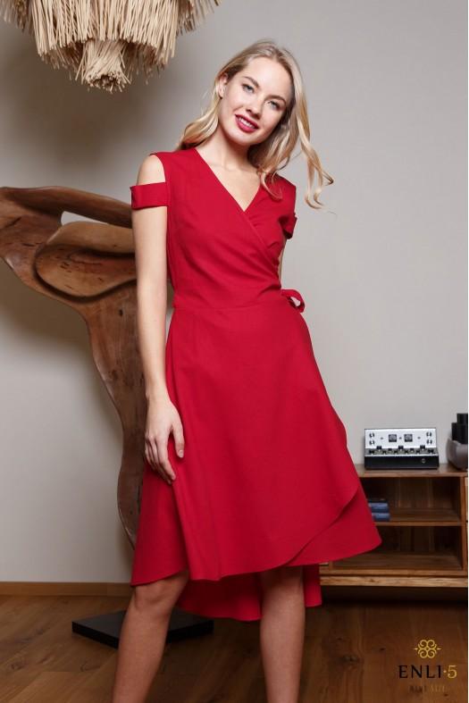 Raudona, susiaučiama suknelė NIDA