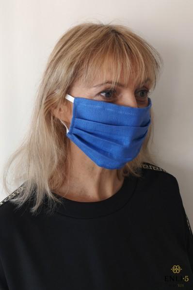 Lininė mėlyna dviguba apsauginė kaukė (su kišene)