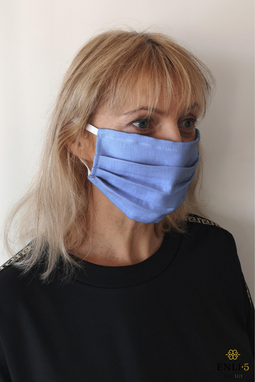 Lininė mėlyna vienguba apsauginė kaukė (be kišenės)