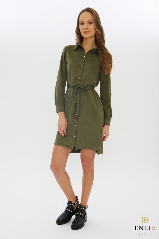 Chaki spalvos zomšinė suknelė - marškiniai