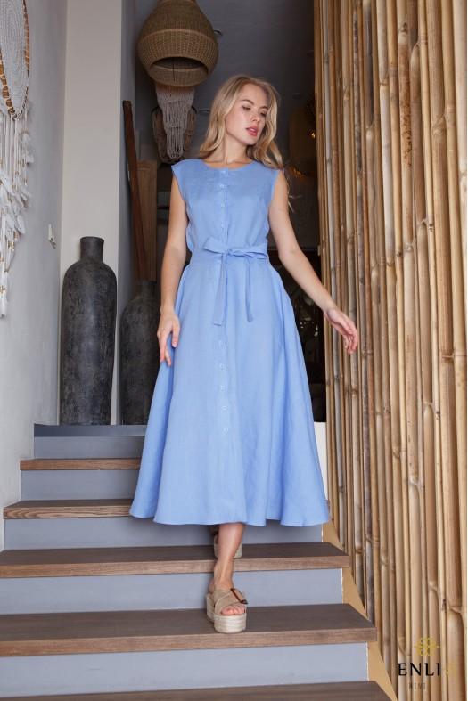 Mėlyna lininė suknelė su dirželiu DANGĖ