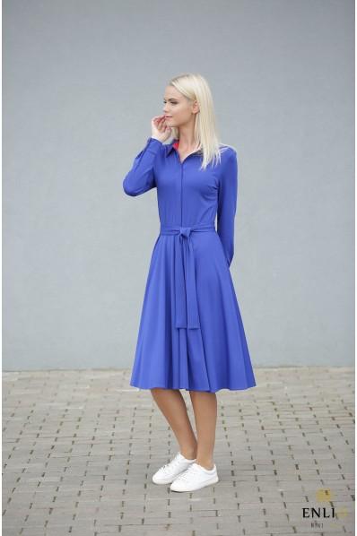 Ilga, platėjanti, ryškiai mėlyna suknelė ESTERA