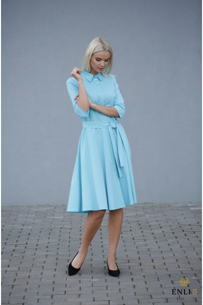 Žydra, kliošinė suknelė su sagutėmis ESTERA