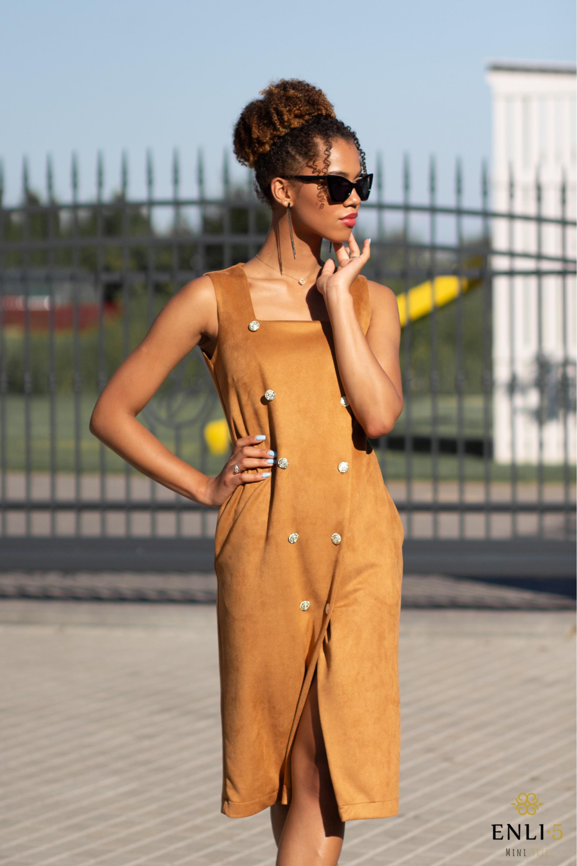Camel spalvos sarafanas/suknelė IVONA