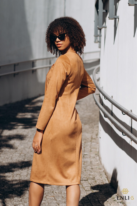 Camel spalvos suknelė IVONA