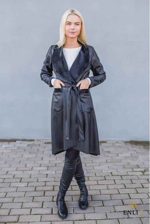Juodas odinis paltas RIANA | Zomšinis lietpaltis