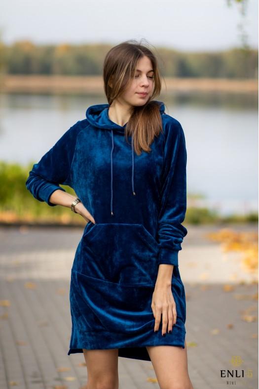 Ilgas, veliūrinis dangaus mėlynumo džemperis LUKA | Tunika