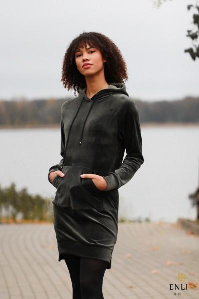 Ilgas, veliūrinis chaki džemperis LUKA | Tunika