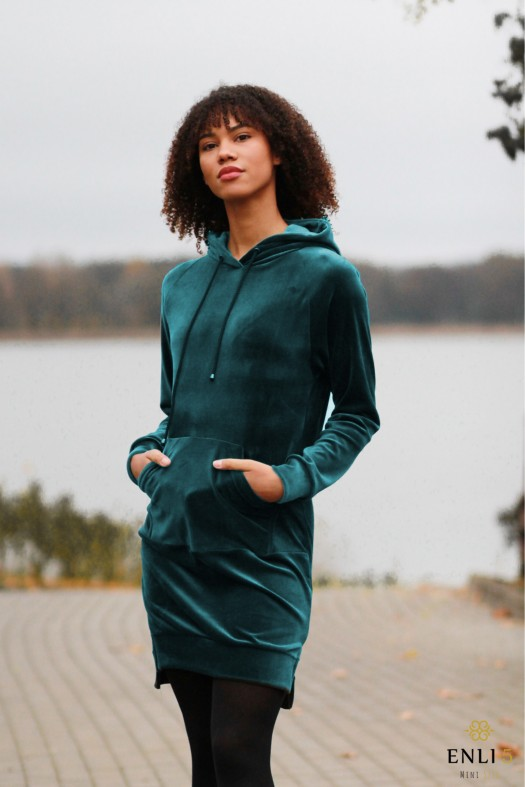 Ilgas, veliūrinis smaragdinis džemperis LUKA   Tunika