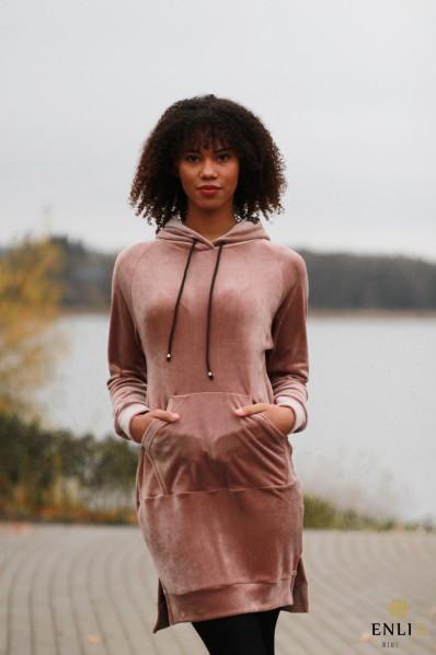 Ilgas, veliūrinis kapučino rožinis džemperis LUKA |Tunika
