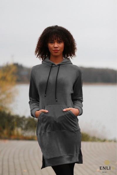 Ilgas, veliūrinis pilkas džemperis LUKA | Tunika