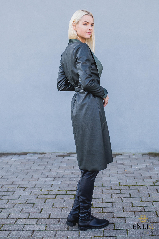 Tamsiai žalias odinis paltas (lietpaltis) RIANA