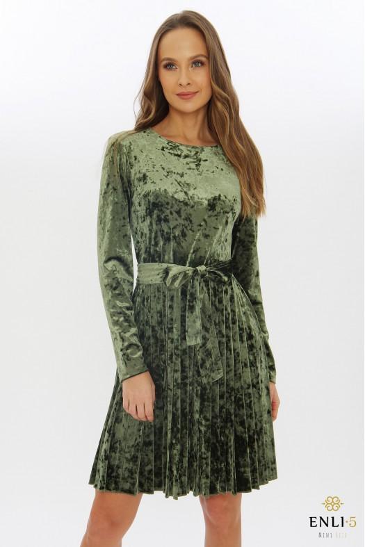 Aksominė chaki suknelė | Trumpa suknelė