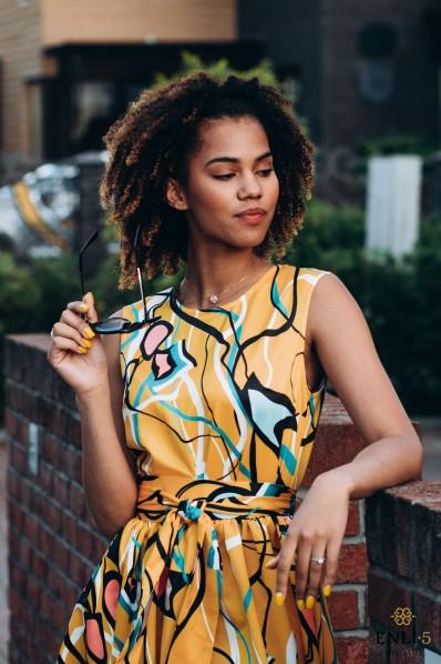 Geltona, vasariška suknelė AMBER