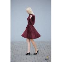 Gofruota, veliūrinė suknelė ARMIKA | Burgundiška suknelė