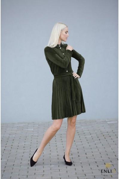 Gofruota, veliūrinė suknelė ARMIKA | Chaki suknelė