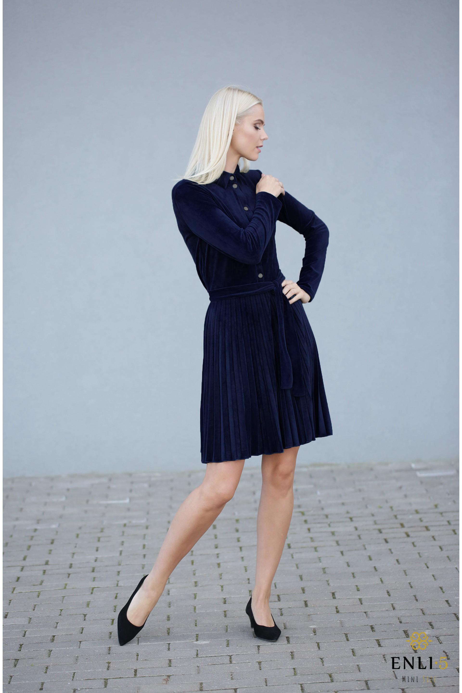 Gofruota, veliūrinė suknelė ARMIKA | Mėlyna suknelė