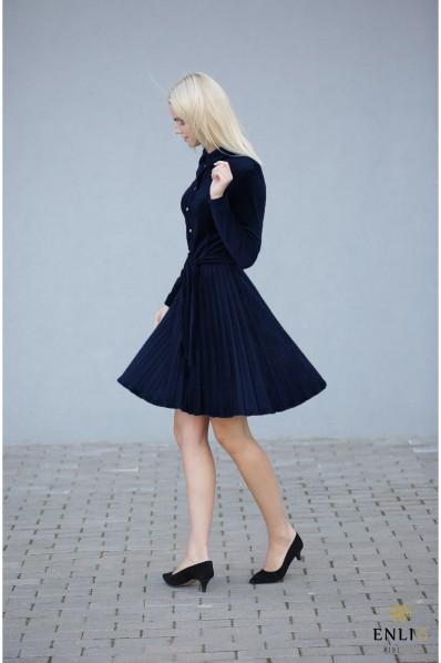 Gofruota, veliūrinė suknelė ARMIKA   Mėlyna suknelė