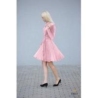 Gofruota, veliūrinė suknelė ARMIKA | Rožinė suknelė