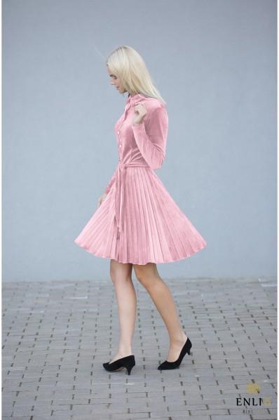 Gofruota, veliūrinė suknelė ARMIKA   Rožinė suknelė