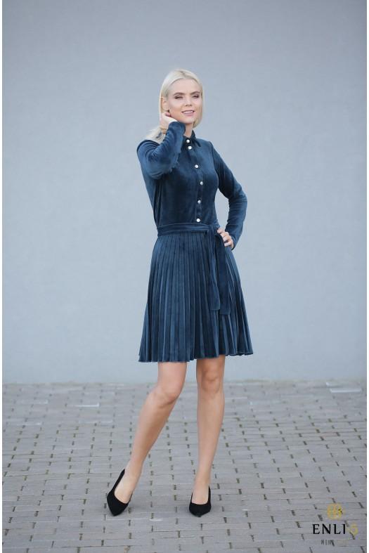 Gofruota, veliūrinė suknelė ARMIKA   Smaragdinė suknelė