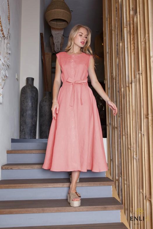 Rožinė lininė suknelė su dirželiu AUŠRA