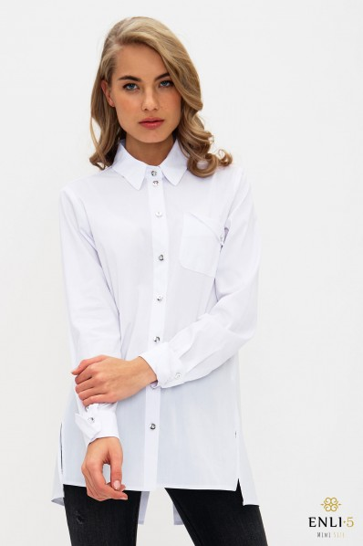Baltos spalvos moteriški marškiniai SMOKINGAS