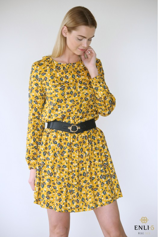 Geltona, gėlėta suknelė BETANI