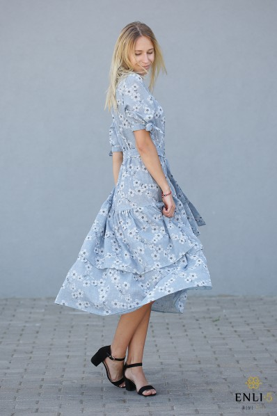 Lininė, melsva, ilga, gėlėta suknelė BLUE FLOWERS