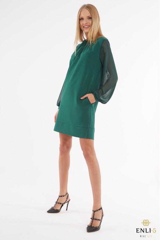 Žalia suknelė su raukiniu ir permatomomis rankovėmis BREILE