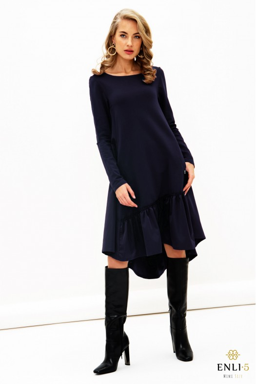 Tamsiai mėlyna, plati suknelė CRAZY