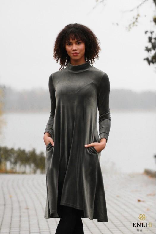 Platėjanti chaki spalvos suknelė DALI