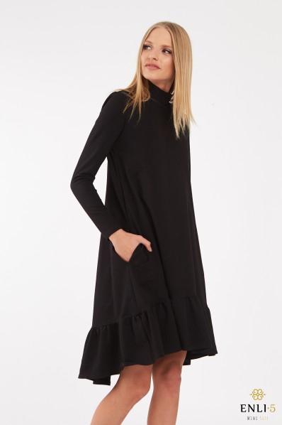 Juoda, ilga, trikotažinė suknelė aukštu kaklu DALIDA