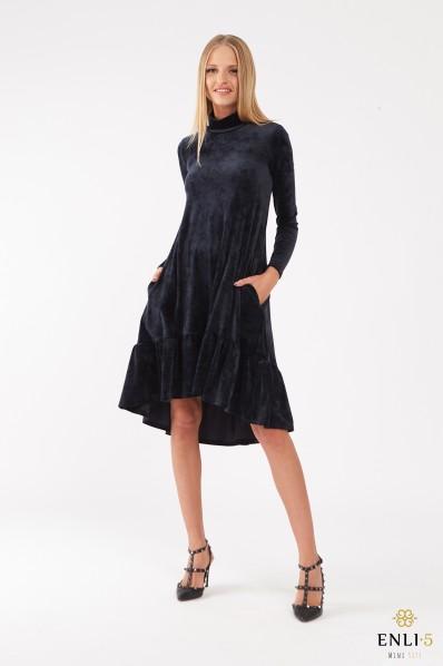 Tamsiai mėlyna, platėjanti veliūrinė suknelė aukštu kaklu DALIDA