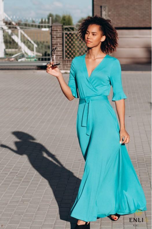 Prigesinto turkio spalvos ilga suknelė  DELINA
