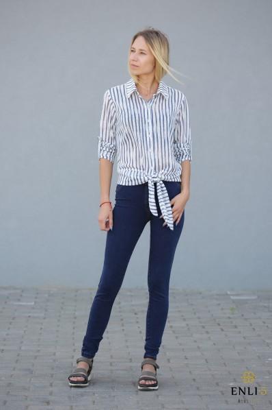 Dryžuoti, stilingi, baltai mėlyni marškiniai DORA