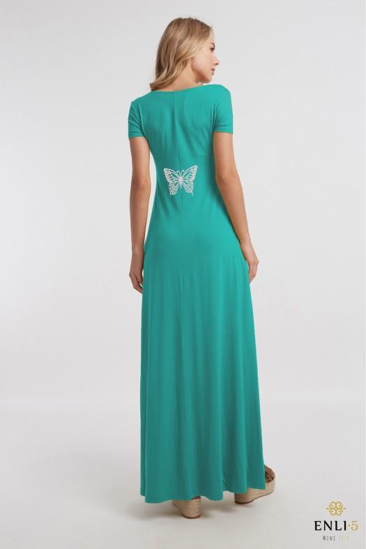 Vasarinė prigesinto turkio spalvos ilga platėjanti suknelė DRUGELIS