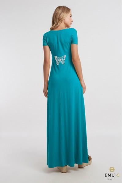 Turkio spalvos ilga platėjanti suknelė DRUGELIS | suknelė dekoruota nugara