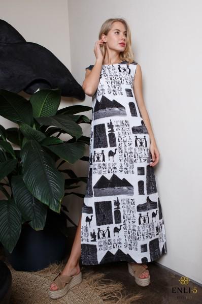 Egiptietiškų raštų lininė suknelė | Marga lininė suknelė