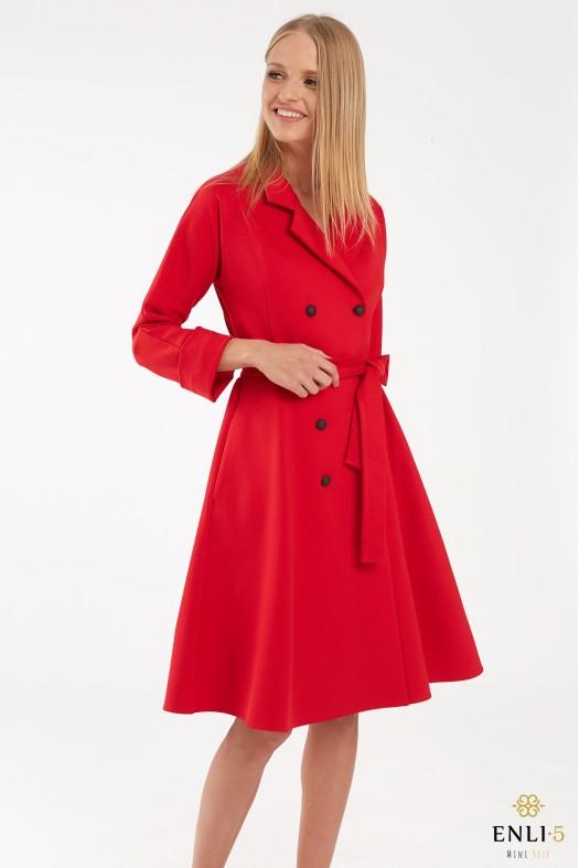 Raudona, kliošinė, švarko tipo suknelė ELADA