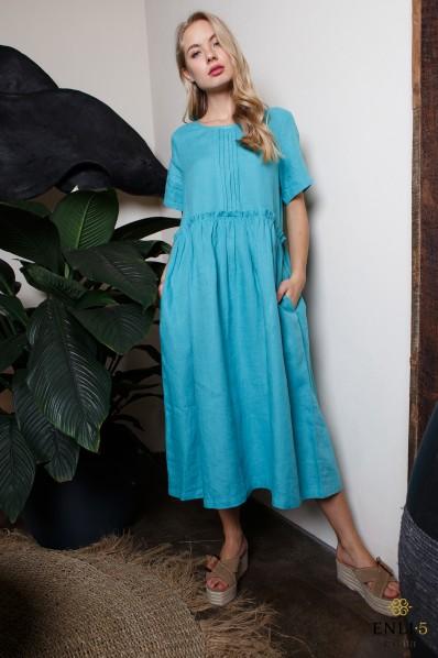 Electric spalvos plati lininė suknelė