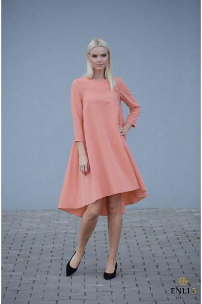 Prigesinto persiko spalvos platėjanti suknelė SVAJA