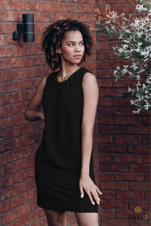 Vasarinė juodos spalvos suknelė FYFA | Trumpa suknelė