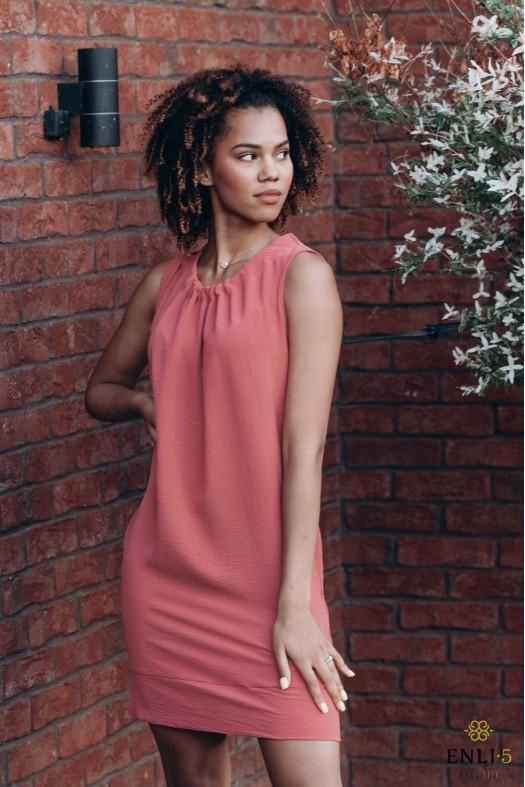 Vasarinė plytų spalvos suknelė FYFA | Trumpa suknelė