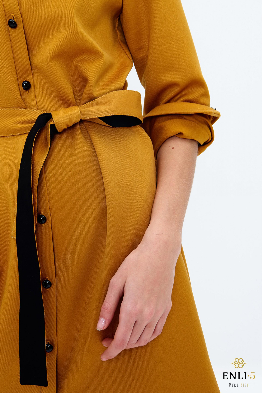 Garstyčių spalvos marškinukai - suknelė