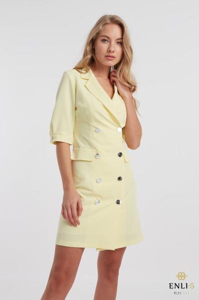 Geltona suknelė - švarkas su sagutėmis TIFANI