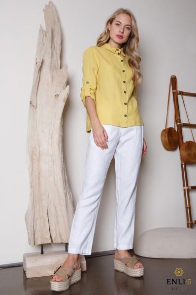 Geltona lininė palaidinė | Lininiai marškiniai
