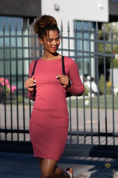 Koralinės spalvos suknelė GINA