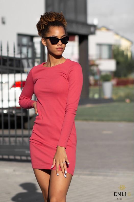 Koralinės spalvos suknelė GINA | Trumpa suknelė