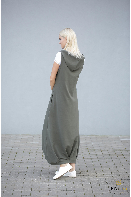 Ilga chaki spalvos suknelė | Sarafanas HELEN